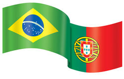 Flag Brazil - Portugal. Flag Brazil and Portugal (fusion flags Royalty Free Stock Images