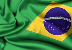 Flag of Brazil. Satin or silk flag of Brazil stock photos