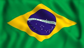 Flag brazil symbol waving brazilian. Flag brazil symbol waving in the wind brazilian symbol country stock illustration