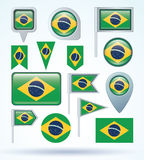 Flag of Brazil, vector illustration.  Royalty Free Stock Photos