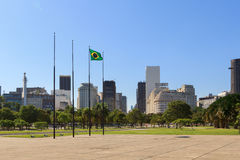 Flag of Brazil with view of City center and Gloria district, Rio de Janeiro Stock Photography