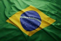Flag of Brazil. Waving colorful national Brazilian flag Royalty Free Stock Photo