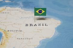 The Flag of brazil in the world map.  stock photography