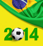 Flag of Brazil on yellow background. 2014 year digits stock illustration
