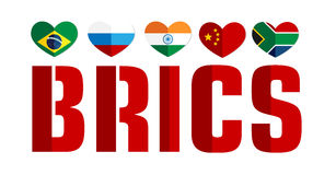 Flag of the BRICS countries color web icon Royalty Free Stock Photo