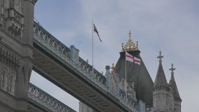 Flag of Britain and the flag of England. stock footage
