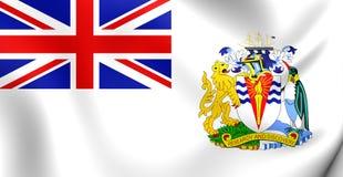 Flag of the British Antarctic Territory. 3D Flag of the British Antarctic Territory. Close Up Stock Photo