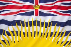 Flag of British Columbia - Canada. Based upon the shield of the provincial arms of British Columbia Stock Images