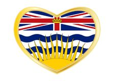 Flag of British Columbia in heart shape, golden. Canadian provincial BC patriotic element and official symbol. Canada banner. Flag of the Canadian province of Stock Images