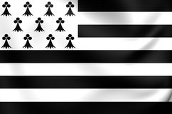 Flag of Brittany Region, France. Stock Photography