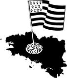 Flag of Brittany waving on wind isolated on white background. Black-and-white waving Breton flag isolated on a white background, big size france region Brittany Stock Image