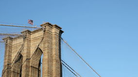 Flag on Brooklyn Bridge Stock Image