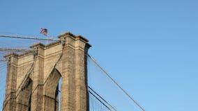 Flag on Brooklyn Bridge stock video