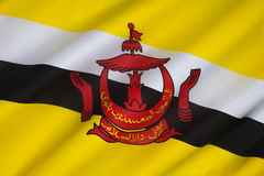 Flag of Brunei - Borneo. The national flag of The Sultanate of Brunei, a small, oil-rich sultanate on the northwest coast of Borneo. It became a fully Royalty Free Stock Photos