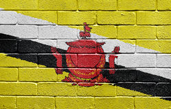 Flag of Brunei on brick wall Stock Image