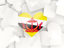 Flag of brunei, heart shaped stickers. Background. 3D illustration Stock Photography