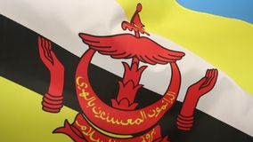 Flag of Brunei. The national flag of The Sultanate of Brunei, a small, oil-rich sultanate on the northwest coast of Borneo. It became a fully independent stock footage