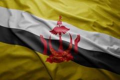 Flag of Brunei. Waving colorful national Brunei flag stock photos