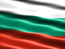 Flag of Bulgaria. Computer generated illustration of the flag of Bulgaria with silky appearance and waves stock illustration