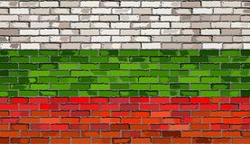 Flag of Bulgaria on a brick wall. Illustration Stock Images