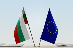Flag of Bulgaria and EU. Desktop flags of Bulgaria and EU at white background stock photography