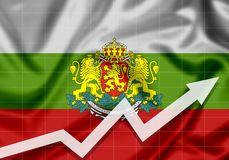 Flag of Bulgaria EU with up arrow. The concept of success and progress in the country Royalty Free Stock Photography