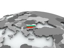 Flag of Bulgaria on globe. Bulgaria on grey political globe with embedded flag. 3D illustration Royalty Free Stock Image