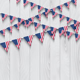 Flag bunting on wooden background Stock Photo