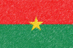 Flag of Burkina Faso background o texture, color pencil effect. Stock Photos