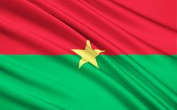 Flag of Burkina Faso, Ouagadougou. Flag of Burkina Faso - adopted on 4th August 1984. The flag uses the Pan-African colors, reflecting both a break with its royalty free illustration