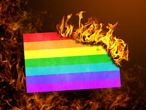 Flag burning - Rainbow flag Royalty Free Stock Photography