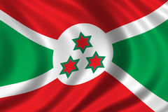 Flag of Burundi. Waving in the wind Royalty Free Stock Image