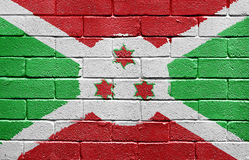 Flag of Burundi on brick wall Stock Photography