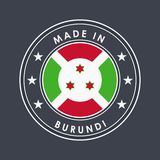 Flag of Burundi. Round Label with Country Name for Unique National Goods. Vector. Isolated royalty free illustration