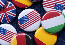 Flag buttons. Lots of colorful national flag buttons / badges Royalty Free Stock Image