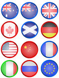 Flag buttons. Illustration of few different country flag buttons. Flag icons Stock Photo