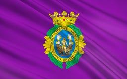 Flag of Cadiz city of Spain stock illustration