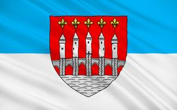 Flag of Cahors, France. Flag of Cahors is the capital of the Lot department in south-western France vector illustration