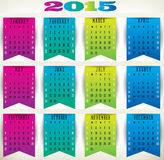 Flag Calendar-2015. 2015 calendar in us style, start on sunday, each month with individual table Stock Photo