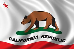Flag of California. Waving in the wind Royalty Free Stock Image