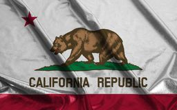 Flag of California State United States of America Rippled Waving. Background close up stock images