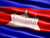 Flag of Cambodia. Computer generated illustration with silky appearance and waves Royalty Free Stock Images