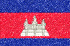 Flag of Cambodia background o texture, color pencil effect. Stock Images