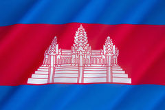 Flag of Cambodia. The national flag of Cambodia in its present form was originally adopted in 1948 and then readopted in 1993, after elections restored the Royalty Free Stock Photos