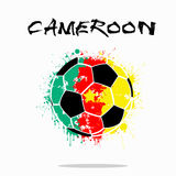 Flag of Cameroon as an abstract soccer ball. Abstract soccer ball painted in the colors of the Cameroon flag. Vector illustration royalty free illustration