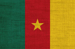 Flag of Cameroon on old linen. Colorful and crisp image of flag on old linen Royalty Free Stock Photo