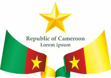 Flag of Cameroon, Republic of Cameroon. Template for award design, an official document with the flag of Cameroon. stock illustration