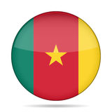 Flag of Cameroon. Shiny round button. Stock Images