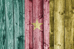 Flag of Cameroon on weathered wood Stock Photo