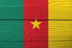 Flag of Cameroon on wooden wall background. Grunge Cameroon flag texture. Flag of Cameroon on wooden wall background. Grunge Cameroon flag texture, green red royalty free stock photos